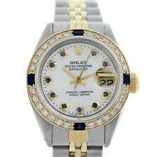 Rolex Dama Datejust 69173 26mm de dos tonos Reloj Madre de Perla Dial Blanco Diamante Zafiro &
