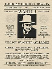 AL CAPONE WANTED GANGSTER POSTER MOB MAFIA SCARFACE ALCATRAZ FBI IRS PUBLIC LAW