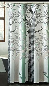 ESSENTIAL HOME BATH SHOWER CURTAIN FABRIC 70 x 72 - WHIMSICAL FOREST - BEIGE