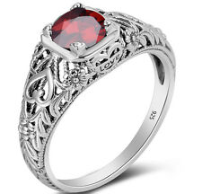 Sterling Silver ring Garnet Handmade Victorian Jewelry January Birthstone rings