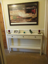 H80 W100 D20cm BESPOKE WHITE CONSOLE HALL TELEPHONE TABLE 3 DRAWER CHUNKY