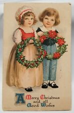 Vintage 1924 German Holiday Merry Christmas Postcard with Children Greeting card