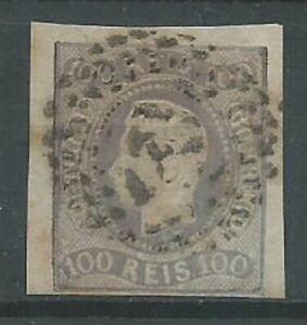 Portugal 1866 100r purple SG45 imperf good used. 4 margins (2106)