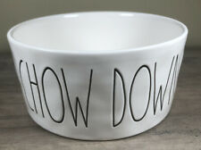 Rae Dunn Magenta CHOW DOWN 6-in. Stoneware Dog Bowl New