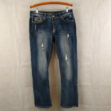 Cato Premium Women Jeans Petite Size 14P Contemporary Distressed Blue Whiskered