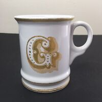 Williams Sonoma Monogram Letter G Large Coffee Mug Cup White Gold Trim