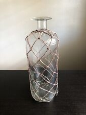 Fine Clear Glass Bottle With Woven Net Interior Decor Accent Decorative Art NICE