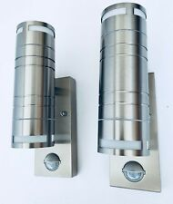 Pair Stainless Steel Outdoor & Indoor up Down PIR Wall Lamps Lights Ip44