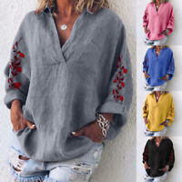 UK 8-24 Women Oversized Tops Pullover V Neck Long Sleeve Casual Baggy Shirt Plus