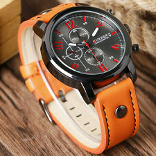 Pilot Curren Mens Casual Analog Quartz Wrist Watch Sport Leather Band Strap Gift