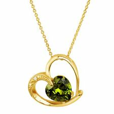 """Heart Pendant with Green Cubic Zirconia in 18K Gold-Plated Brass, 18"""""""