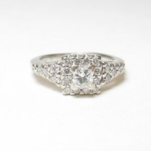 Estate 14K White Gold 0.30 Ct Princess Cut Diamond Halo Ring 0.75 Cts Total