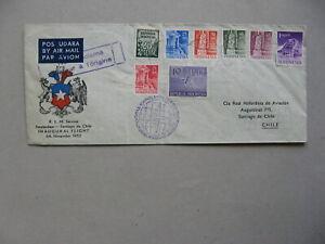 INDONESIA, cover FFC 1952, Amsterdam - Santiago de Chile
