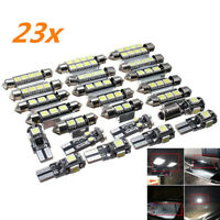 23PCS LED White Car Inside Light Kit Dome Trunk Mirror License Plate Bulbs Lamp