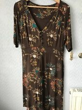 Ladies Amari / Lily And Me Tea dress size 4 12-14 Brown Floral Great With Boots