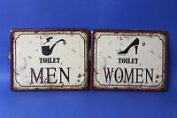 SET 2 INSEGNE METALLO MEN & WOMEN WC TOILET VINTAGE BAGNO NEGOZIO BAR RISTORANTE