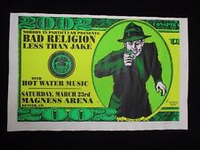 2002 Rock Roll Concert Poster Bad Religion Less Than Jake L.Kuhn S/N #277