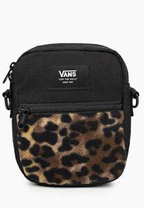Vans Bail Shoulder Bag Black Leopard Print Fleece Crossbody  Bag  Print  Black