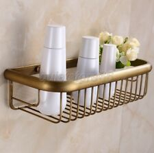 Classic Antique Brass Bathroom Rectangle a Basket Wall Mounted Storage qba030