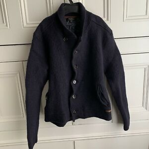 BOYS THICK WOOL TED BAKER NAVY BLUE HIGH NECK BUTTON UP CARDIGAN UK SIZE 5