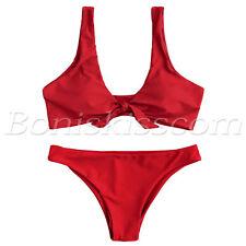 2pcs Women's Tie Knot Front Bikini Sets Swimwear Swimsuit Beachwear Bathing Suit