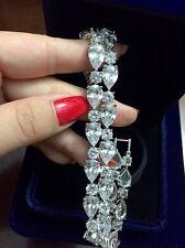 "White Topaz & Cubic Zirconia HANDMADE Bracelet 7.5"""