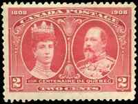 Canada #98 mint F-VF OG H DG 1908 Quebec 2c King Edward VII & Queen Alexandra