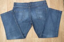"RED HERRING MENS BLUE DENIM DISTRESSED BUTTON FLY STRAIGHT LEG JEANS  W 44"" L32"""