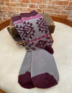 MUK LUKS Magenta Aztec Microfiber Comfy Soft Lounge Boot Socks O/S New
