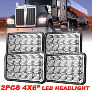 "4PCS 4x6"" INCH 300W LED Headlights DRL Lamp for Peterbilt Kenworth Freightliner"