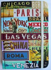 *PUNCH STUDIO Gold Foil Bungee Note Book Journal ~Worldwide Cities ~Travel Diary