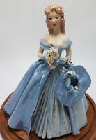 Vintage Handmade Ceramic Woman Figurine in Blue Dress with Hat