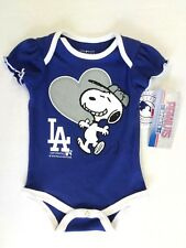 Los Angeles Dodgers & Snoopy with Heart Baseball One Piece Baby Girl 0-3 Months