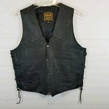 Echtes Leder Mens Sz 40 Black Leather Motorcycle Riding Vest Laced Sides Snaps