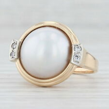 Mabe Pearl Diamond Ring 14k Yellow Gold Size 6.5 Cocktail