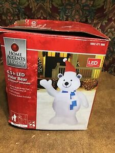 Home Accents LED Polar Bear 6.5 ft Inflatable Airblown Lights Up