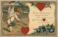 Valentine - Cherub Writing in Sand on Beach MY LOVE c1910 Postcard