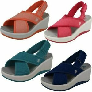 Ladies Clarks Cloudsteppers Wedge Slingback Sandals Step Cali Cove