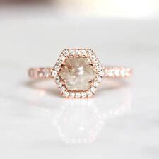 14k solid Gold ring natural rose cut diamond ring wedding ring hexagon DER433