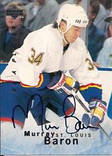 Murray Baron 1995-1996 Upper Deck Be A Player Autograph Card#s158-St Louis Blues