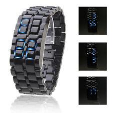 Fashion Mens Sport Wrist Watch Faceless Blue LED Lava Style Digital Plastic Band