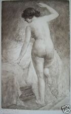 GASTON GERARD 1859-? ENGRAVING EROTICISM LA FEMME NAKED AT THE EDGE OF THE BED