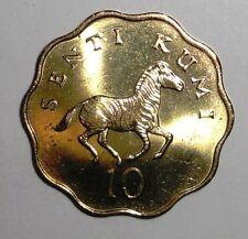 1984 Tanzania 10 senti, Zebra, Horse, animal wildlife coin