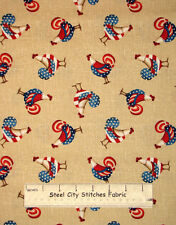From The Heartland Primitive Rooster Patriotic Americana Cotton Fabric YARD