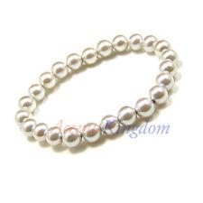 "Women's Magnetic Hematite White Simulated Pearl Beaded Bracelet 7.5"""