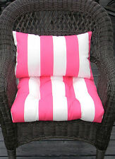WICKER CHAIR CUSHION & LUMBAR PILLOW SET- PINK & WHITE STRIPE -  IN/OUTDOOR