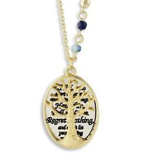 """NEW Tree of Life Pendant Necklace Live w/ No Regrets Goldtone Beaded 27"""" Chain"""