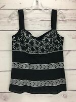 Ann Taylor Women's Size 2 Top Cami Blouse Sleeveless Black Embroidered NWT