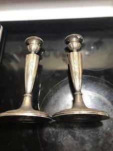 Fabulous! Pair Heavy Gorham Sterling Silver 9 1/4 Candlesticks Monograms
