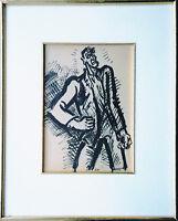 Frans Masereel: Der Empörte 1920er Jahre seltene Tuschezeichnung 26 x 18 cm